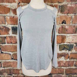 Chaser Cold Shoulder Knit Long Sleeve Gray M NWT